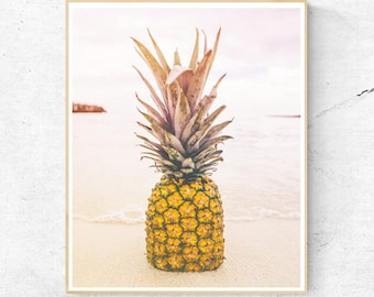 Pineapple Print, Tropical Fruit Wall Art, Large Poster, Hawaii, Blue Contemporary Photography, Modern Minimalist, Printable Digital Download