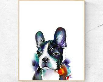 Boston Terrier Dog Watercolour Print, Wall Art Print, Large Poster, Dog Lovers gift idea, Printable Digital Download