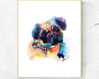 Pug Dog Watercolour Print, Dog Lovers Wall Art Print, Large Poster, Great Gift Idea, Printable Digital Download