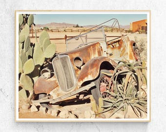 Desert Cactus Photo Print, Rusty Old Car Wall Art, Large Poster, Contemporary Photography, Modern Minimalist, Printable Digital Download