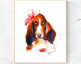 Basset Hound Dog Watercolour Print, Wall Art Print, Large Poster, Dog Lover Gift Idea, Fathers Day or Mothers Day Printable Digital Download