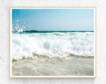 Beach Art Print, Coastal Photography, Water,  Waves, Modern Minimalist, Large Poster, Nautical Coastal Decor, Printable Digital Download