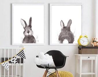 Bunny Rabbit Tail Watercolour Print, Woodland Nursery Art, Rabbit Wall Decor, Baby Animal Print, Printable Bunny Tail, Digital Download