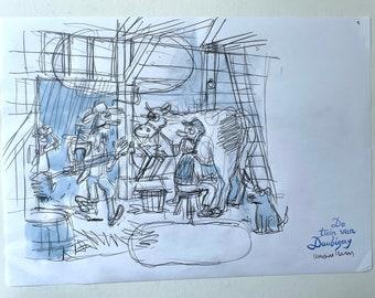 Original pencil sketch - Daubigny garden
