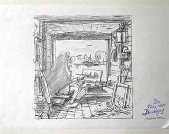 Original pencil drawing - Daubigny garden