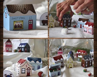 Paper Advent Christmas Village, Advent Calendar, Downloadable Advent, Christmas Craft Advent, Paper Village, Advent Calendar,Advent template