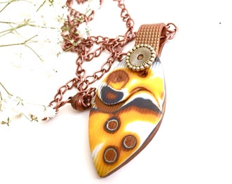 Yellow polymer clay pendant/ yellow and brown polymer necklace/ yellow pendant/ yellow / polymer clay/ clay necklace/ modern pendant/ bocho/