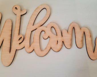 Welcome Wood Cutout, Calligraphy Wood Cutout, Welcome Calligraphy Wood Cutout, Handwritten Welcome Wood Cutout