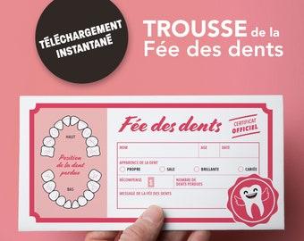 Trousse de la fée des dents - Rose - Français - Téléchargement instantané