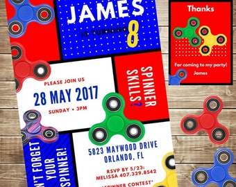 Fidget spinner birthday party invitation boy spinner party fidget spinner birthday party invitation spinner free thank you card personalized filmwisefo