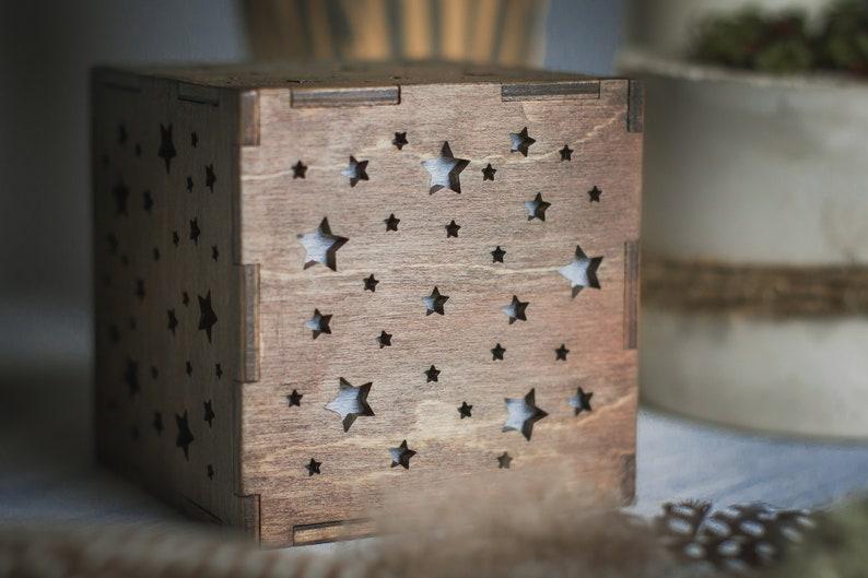 De Chambre Chevet Pour Bois ÉtoilesVeilleuse ÉclairageCadeau BébéNuit Ciel Cube BoisEnfants En Lampe Bébé Table j54AL3R
