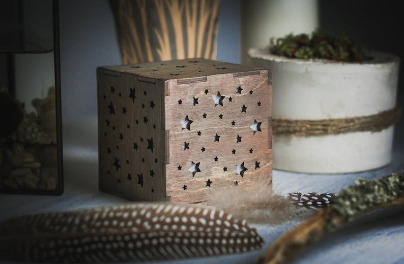 Chambre ÉclairageCadeau Chevet Bois BoisEnfants En Lampe Cube Pour Bébé De Table Ciel ÉtoilesVeilleuse BébéNuit nwOXN08Pk
