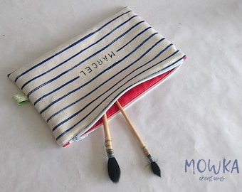 Clutch bag / pencil case hand-painted on organic cotton weaved in France