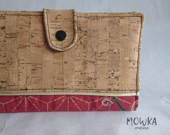 KYOTO (version rouge) - Portefeuille / Porte chèque / Porte monnaie femme cuir de liège et coton