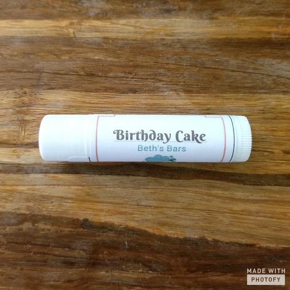 BIRTHDAY CAKE Lip Balm Natural Chapstick Beths Bars Beeswax Homemade Cheap
