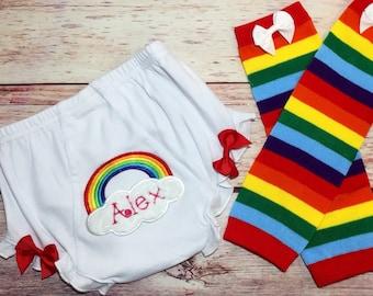 Rainbow baby bloomers; baby girl bloomers; baby pride, LGBT baby, LGBT clothing, Baby bloomers with Name, rainbow baby, lgbt baby clothes,