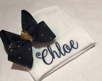 Navy Blue Newborn Girl Hat, Newborn Baby Hat, naiticsl baby girl,Baby Hat with Bow, hospital hat, take home hat, newborn hat, baby hat
