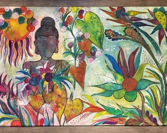 """Buddha In Paradise- - original painting- mixed media- one of a kind 24x36"""""""
