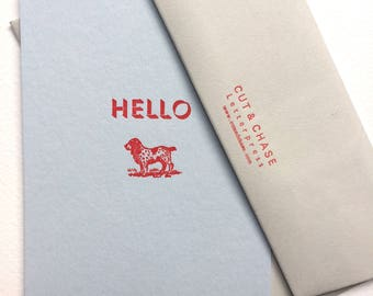 Hello Doggy Letterpress Notecards Pack of 4