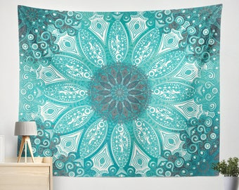 Mandala Tapestry, Blue and green Mandala tapestry wall hanging, mandala art tapestry, bohochic wall hanging,Teal tapestry, Mint tapestry
