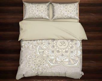 Om Bedding, Mandala Bedding, Hippie Bedding, Bohemian Bedding, Ethno Bedding, Boho Bedding, Full, Queen, King Bedding, Beige Bedding