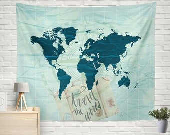World map tapestry etsy popular items for world map tapestry gumiabroncs Images