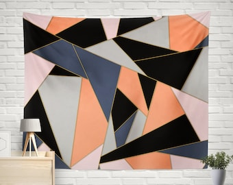 Geometric Tapestry Abstract Modern Art Wall Hanging Triangle Large Home Decor