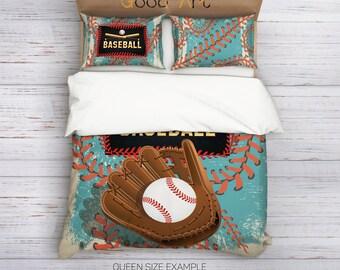 Baseball Bedding,Baseball Duvet Cover Set,Athletic Bedding,Sport inspired Bedding Set,College Bedding,Boys Bedding,Baseball kids bedding