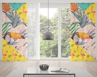 Flamingo Window Curtains Palm Tree Tropical Rod Pocket Curtain Leaf Room Decor Living