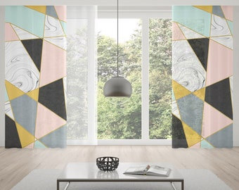Marble Windwo Curtains Modern Window Geometric Rod Pocket Triangle Abstract