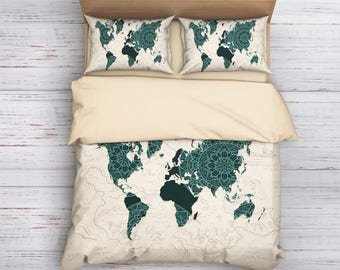 World map bedding | Etsy
