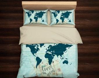 World map bedding etsy gumiabroncs Choice Image