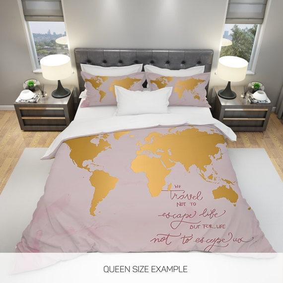 World Map Comforter, Golden World Map Comforter, Winter Comforter, Summer  Comforter, Queen Comforter, Full Comforter, Explore Duvet