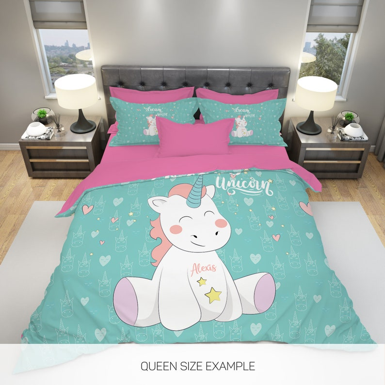 Unicorn Bedding Personalized Unicorn Bedding Kids Bedding image 0