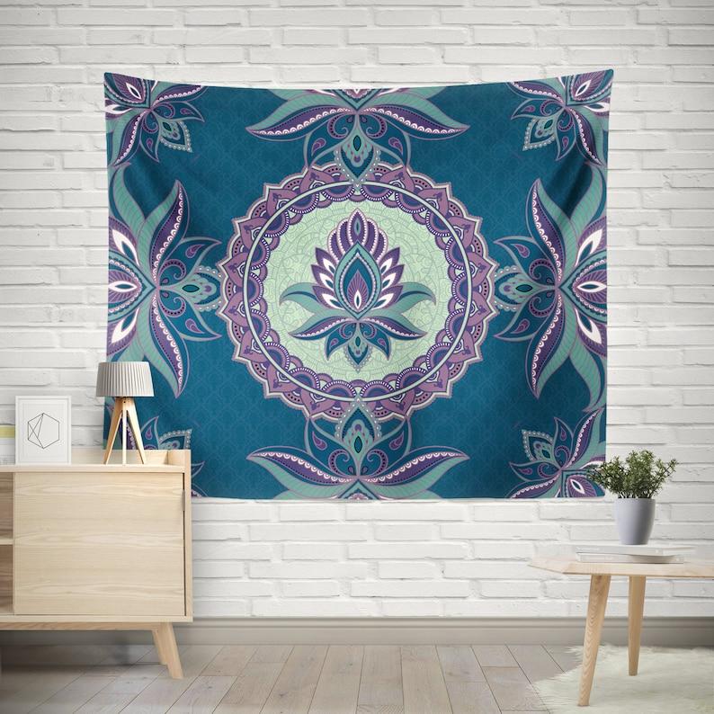 Lotus Flower Wall Tapestrysacred Mandala Tapestrybohemian Etsy