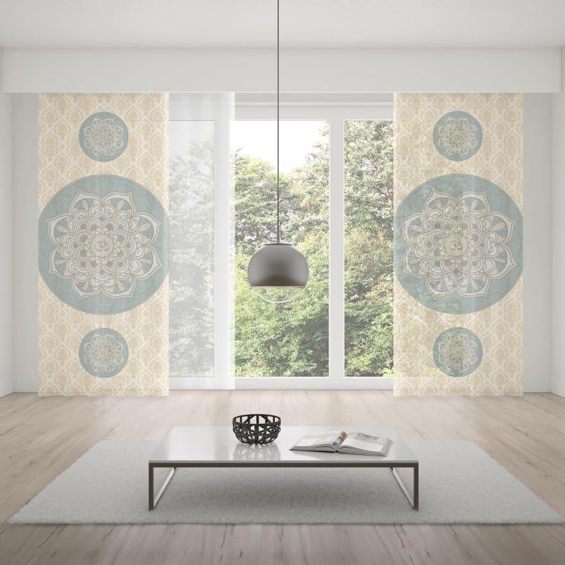 Sacred Om Boho Chic Window Curtain,Window Treatment,Rod Pocket Curtain,Blue Bohemian Curtain,Room Decor,Living Room Decor,Chakra Curtain