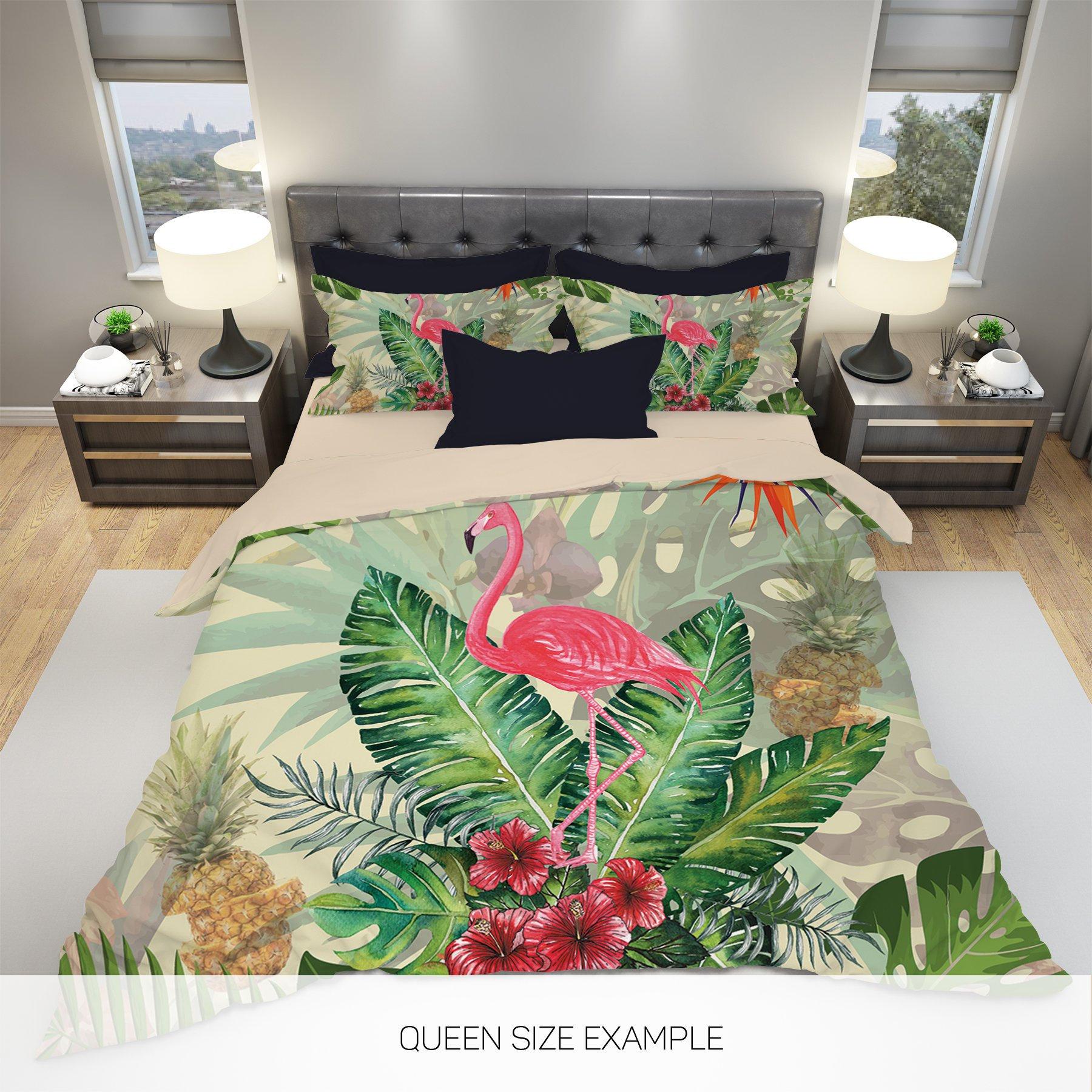 Abstract Bedding Modern Bedding Tropic Flower Bedding Hawaiian Bedding Tropical Bedding Art Duvet Cover Flamingo Bedding