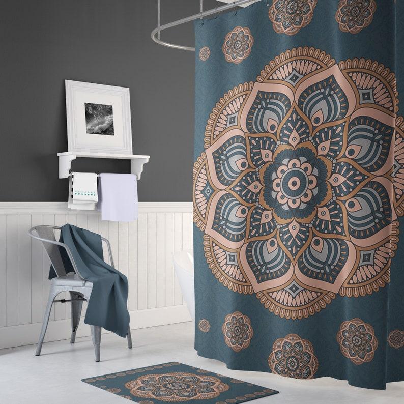 Mandala Shower Curtain Boho Decor