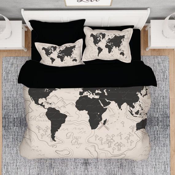 World Map Comforter, Beige World Map Comforter, World Map Duvet Set, Travel  Map Comforter, Abstract Watercolor Duvet Cover, Queen Comforter