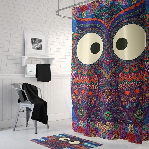 Owl Bath Mat Bath Mat Set Boho Bath Mat Bathroom Decor Hippie Bath Mat Owl Shower Curtains Bath Mat Bath Rug Bath Decor