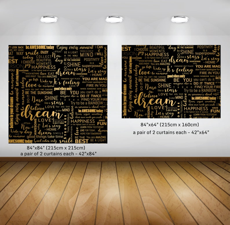 Black and Gold Modern Window Curtains Quotes Window Curtains Inspirational Window Curtains Abstract Window Curtains Rod Pocket Curtains
