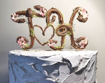 "Two Letter Topper, Standard, Cursive,  Grapevine Topper, Rustic Cake Topper, Natural, Handmade Cake Topper 3"" tall letter or 3""5 tall letter"