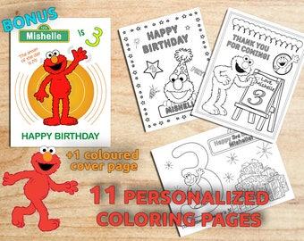 ELMO Birthday Party Coloring Pages, Elmo Sesame Street, Personalized, Printable Digital PDF