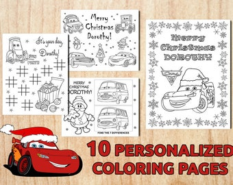 Digital Set Of Christmas McQueen Party Activity Coloring Pages Cars 3 Personalized Printable Birthday PDF