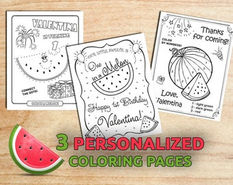 Watermelon Birthday Coloring Pages / One in a Melon / Party favors / 1st Birthday / Personalized / Printable / Digital / PDF
