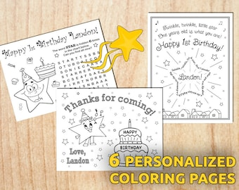 Twinkle Twinkle little star Birthday Coloring Pages / Personalized / Digital / Printable / Birthday party / PDF