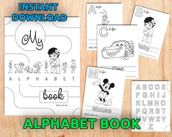 Alphabet Book Coloring Pages Printable / Baby's First Alphabet Book / Instant Download / PDF, JPG