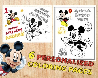 Mickey Mouse Birthday Coloring Book Personalized Party Etsy