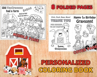 Old MacDonald Birthday Party Coloring Book Farm Animal Personalized Favors Decorations Kids Digital PDF