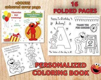 ELMO Birthday Party Coloring Booklet Sesame Street Personalized Elmo Printable Activities Digital PDF